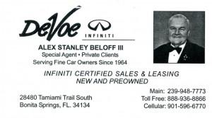 Alex's business card at DeVoe Infiniti of Naples FL