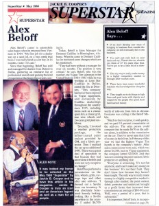 Alex was nationally featured in Jackie B Cooper's publication May 1988