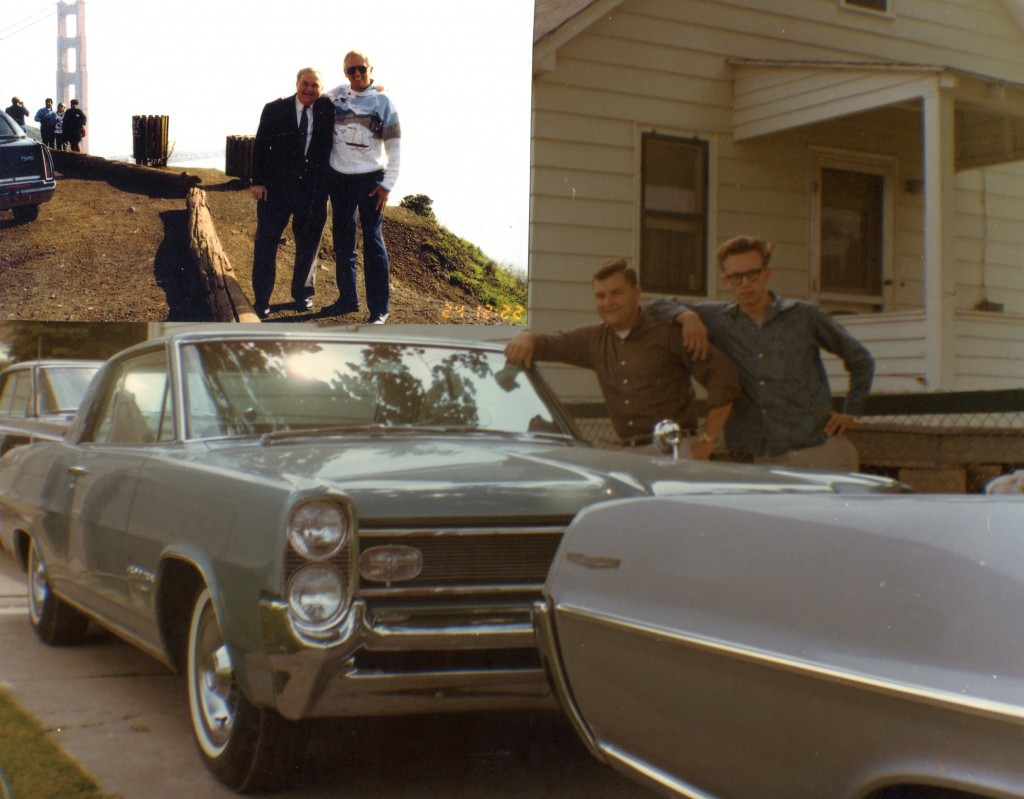 Alex and cousin John Sadek as 1959 seniors and top left is visit in California