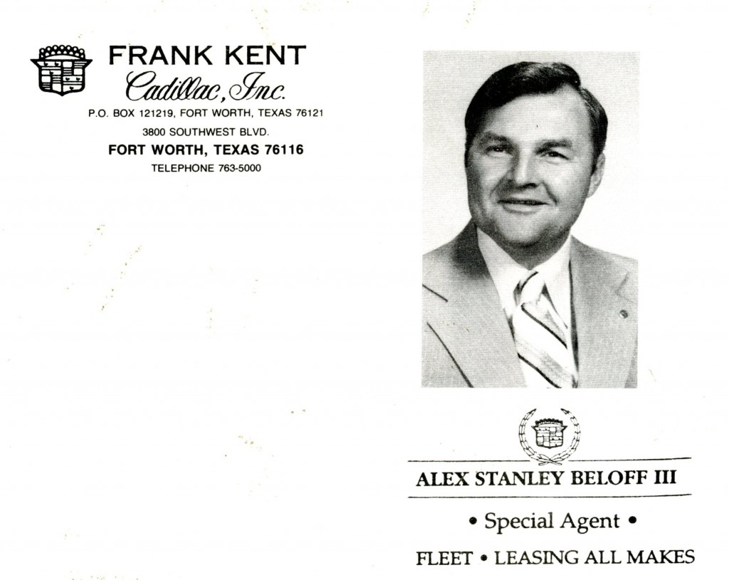 A postcard Alex used when at Frank Kent Cadillac, Fort Worth TX