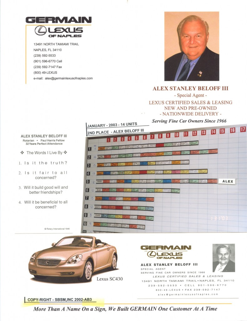 Alex's sales record at Germain Lexus, Naples Florida January 2003