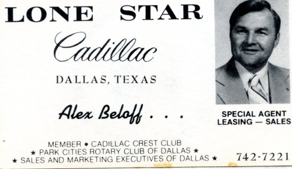 Alex's card at Lone Star Cadillac, Dallas TX