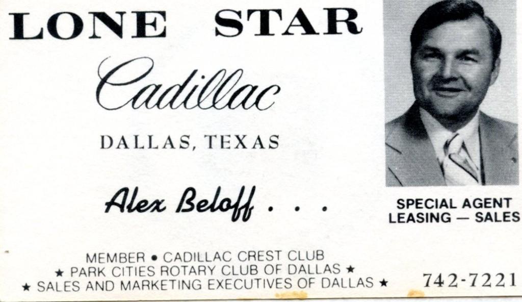 Alex's card at Lone Star Cadillac, Dallas TX