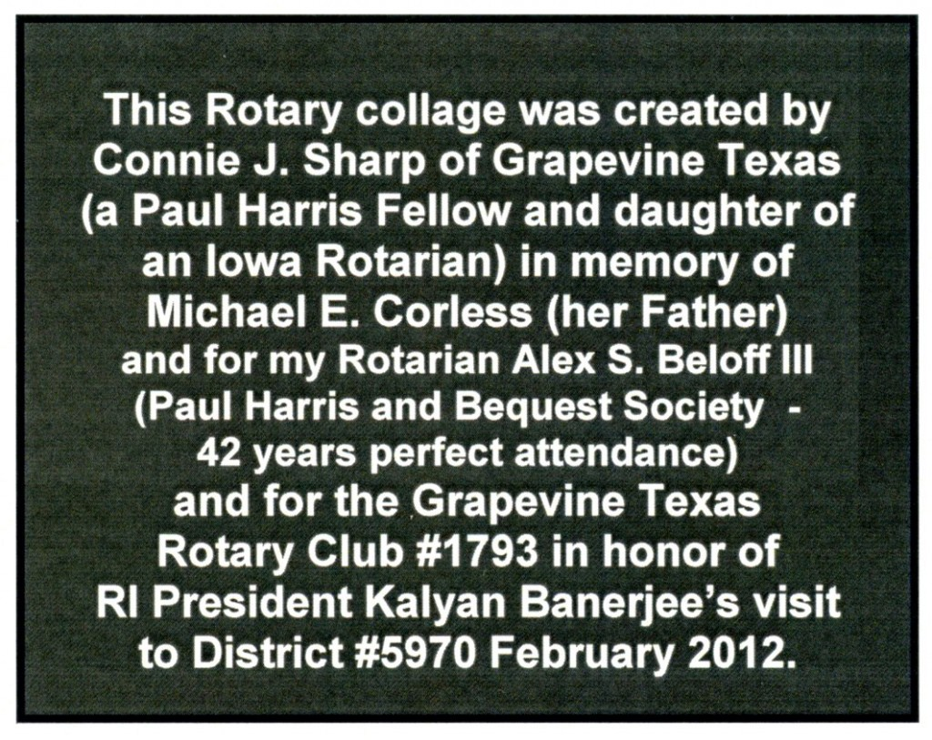 Dedication on Rotary theme collage