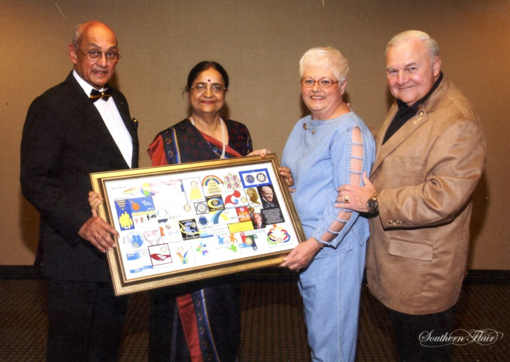 RI President Kalyan Banerjee was presented this Rotary collage by Alex and Connie February 2012