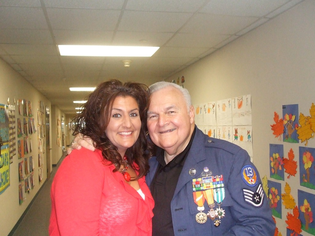 Alex with Susan Sharp, 2nd grade teacher Keller Harvel on Veteran's Day 2012