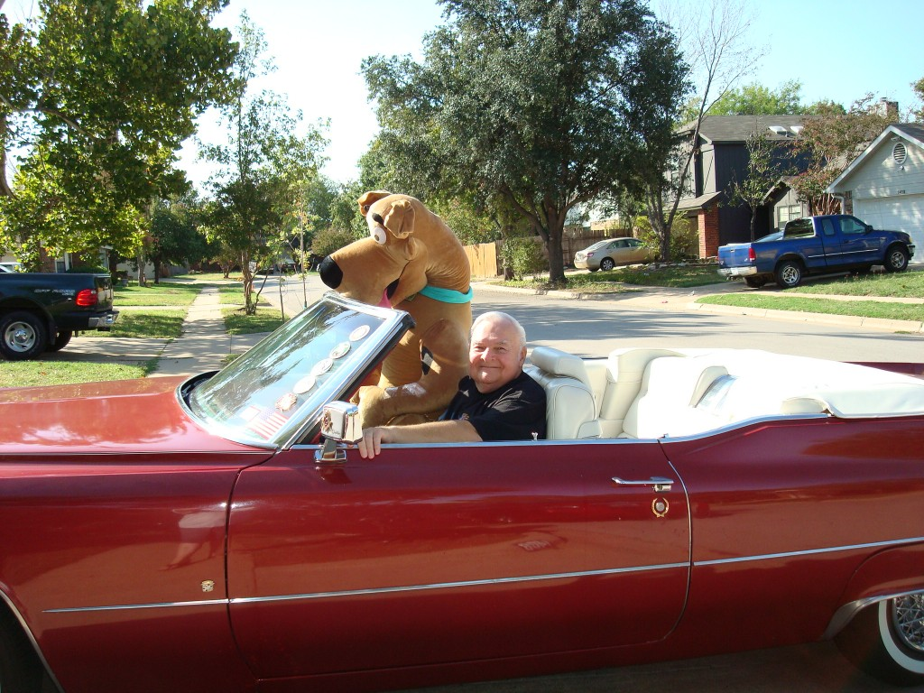 Alex and Scooby Doo in the 1957 Cadillac convertible in Grapevine Texas