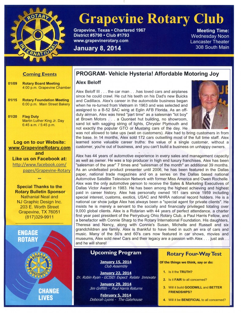 Vehicle Hysteria is the program presented to the Grapevine Rotary Club January 2014