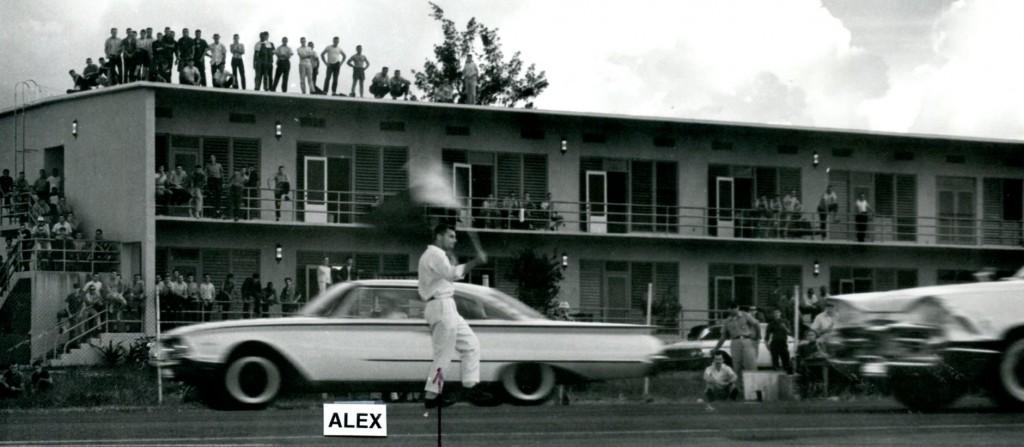 Clark AFB auto racing with Alex as flagman